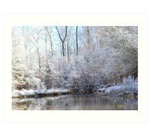 snow covered walk bridge Art Print