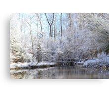 snow covered walk bridge Canvas Print