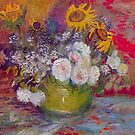 'Still Life with Roses and Sunflowers' by Vincent Van Gogh (Reproduction) by Roz Abellera Art Gallery