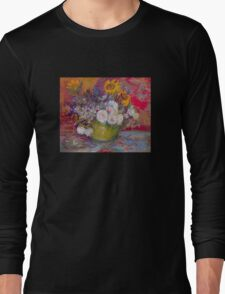 'Still Life with Roses and Sunflowers' by Vincent Van Gogh (Reproduction) Long Sleeve T-Shirt