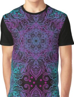 Vintage luxury background with a black backdrop and blue ornaments. Graphic T-Shirt