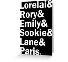 Gilmore Girls - Lorelai & Rory & Emily & Sookie & Paris   Black Greeting Card
