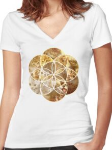 Kitten Geometric collage Women's Fitted V-Neck T-Shirt