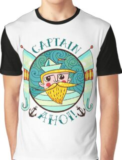 Seaman Illustration with a lighthouse in the style of an old tattoo.  Graphic T-Shirt
