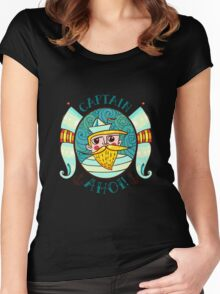 Seaman Illustration with a lighthouse in the style of an old tattoo.  Women's Fitted Scoop T-Shirt