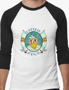 Seaman Illustration with a lighthouse in the style of an old tattoo.  Men's Baseball ¾ T-Shirt