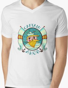 Seaman Illustration with a lighthouse in the style of an old tattoo.  Mens V-Neck T-Shirt