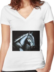 horse velvet painting Women's Fitted V-Neck T-Shirt