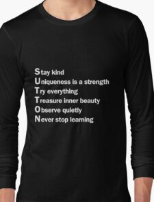 Sutton Foster - Life Lessons Acrostic    Black Long Sleeve T-Shirt