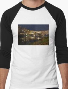 Florence, Italy Night Magic - A Glamorous Evening at Ponte Vecchio  Men's Baseball ¾ T-Shirt