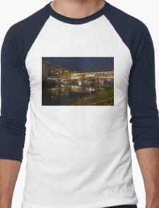 Florence, Italy Night Magic - A Glamorous Evening at Ponte Vecchio  Men's Baseball ¾ T-Shirt