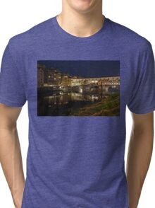 Florence, Italy Night Magic - A Glamorous Evening at Ponte Vecchio  Tri-blend T-Shirt