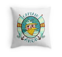 Seaman Illustration with a lighthouse in the style of an old tattoo.  Throw Pillow