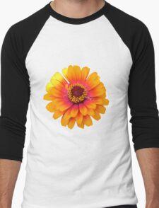 Vibrant Orange Flower Men's Baseball ¾ T-Shirt