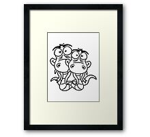 friends team papa child son family couple cartoon comic funny humorous 2 snakes cool Framed Print