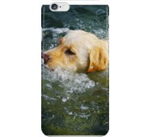 """Yellow Lab Swims MIchigan Lake"" iPhone Case/Skin"