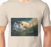 """Yellow Lab Swims MIchigan Lake"" Unisex T-Shirt"
