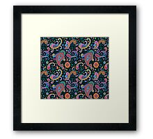 Pastel Blue Tones Vintage Orante Floral Paisley Pattern Framed Print