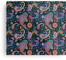 Pastel Blue Tones Vintage Orante Floral Paisley Pattern Metal Print