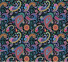 Pastel Blue Tones Vintage Orante Floral Paisley Pattern Photographic Print