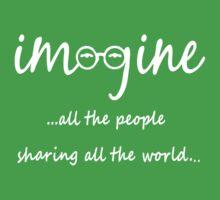 Imagine - John Lennon Tribute Artwork - Imagine All The People Sharing All The World... WHITE One Piece - Short Sleeve