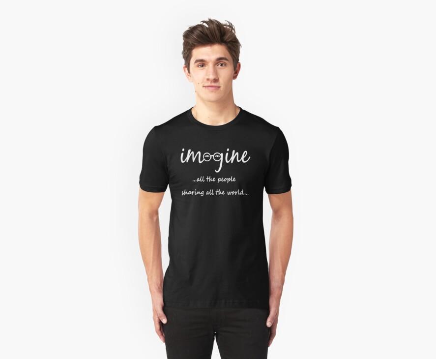 Imagine - John Lennon Tribute Artwork - Imagine All The People Sharing All The World... WHITE by Denis Marsili
