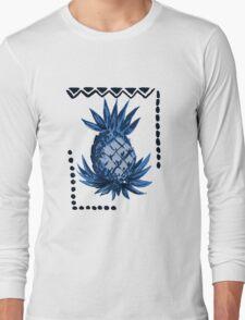 Pomaika'i Tiki Hawaiian Vintage Tapa - Indigo Blue Long Sleeve T-Shirt