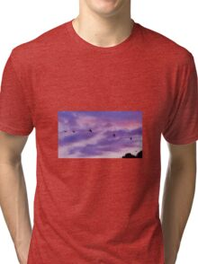 Bomber planes in purple sunset Tri-blend T-Shirt