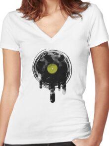 Green Melting Vinyl Records Vintage  Women's Fitted V-Neck T-Shirt