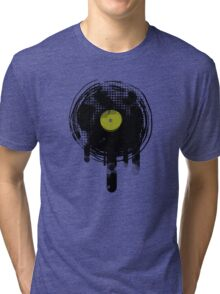 Green Melting Vinyl Records Vintage  Tri-blend T-Shirt