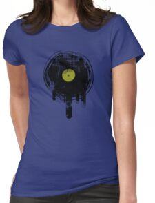 Green Melting Vinyl Records Vintage  Womens Fitted T-Shirt