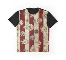 Vintage Red Stripes and Compass Graphic T-Shirt