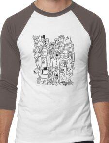 BB Black and White Cartoon Men's Baseball ¾ T-Shirt