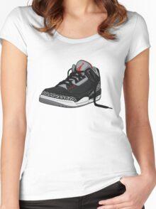 "Air Jordan 3 (III) ""BLACK & CEMENT"" Women's Fitted Scoop T-Shirt"