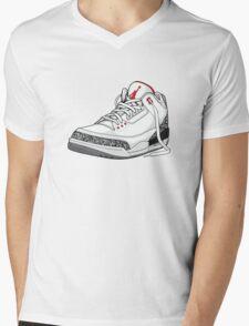 """Air Jordan 3 (III) """"WHITE & CEMENT"""" Mens V-Neck T-Shirt"""