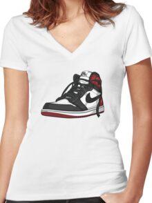 "Air Jordan 1 ""BLACK TOE"" Women's Fitted V-Neck T-Shirt"