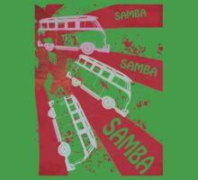 VW SAMBA SAMBA SAMBA Kombi Shirt - Red One Piece - Short Sleeve