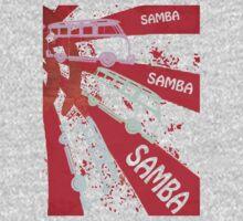 VW SAMBA SAMBA SAMBA Kombi Shirt - Red One Piece - Long Sleeve