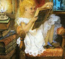 Wonderland Alice Reading at Bedtime  Sticker