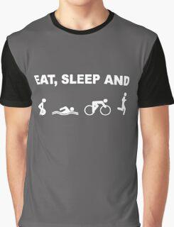 EAT, SLEEP & TRAIN TRIATHLON FUNNY Graphic T-Shirt