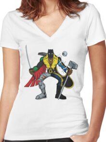 Mashups: Black Heroes Women's Fitted V-Neck T-Shirt