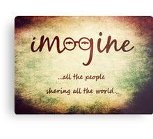 Imagine - John Lennon - Imagine All The People Sharing All The World... Typography Art Metal Print