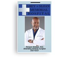 Richard Webber ID Badge  Canvas Print