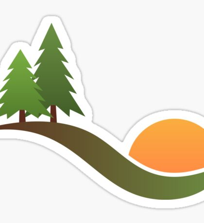 Trees on hill with rising or setting sun - forest, woods, wilderness logo sticker Sticker
