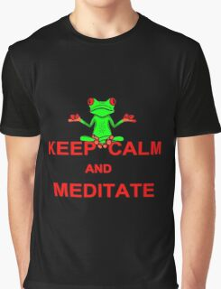 Keep Calm and Meditate Tree Frog Graphic T-Shirt