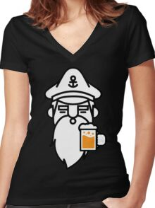 Beard With Beer Women's Fitted V-Neck T-Shirt