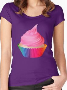 Pink Frosting Rainbow Vanilla Cupcake Women's Fitted Scoop T-Shirt