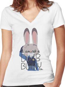 "Judy Hopps ""I Am Not A Dumb Bunny"" Women's Fitted V-Neck T-Shirt"