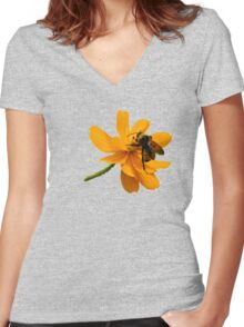 Bumble Bee Busy Women's Fitted V-Neck T-Shirt