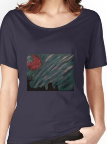 """Forest Green Skies"" Acrylic Painting Women's Relaxed Fit T-Shirt"